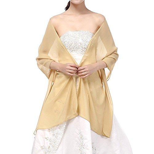 Beyonddress Damen Trend Fashion Schal Cape Wraps Sheer weichen Chiffon Braut-Shawl für Besondere Anlässe (27 Farben) (Gold)