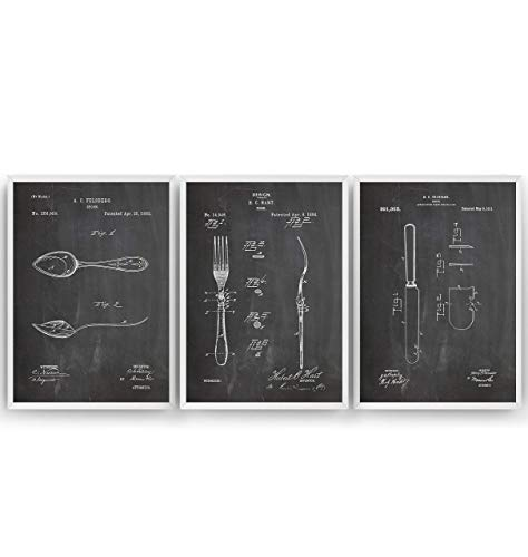Küche Dekor Patent Poster - Set Of 3 Prints - Jahrgang Bild Drucke Kunst Geschenke Zum Männer Frau Entwurf Dekor Vintage Art Gifts For Men Women Blueprint Decor - Rahmen Nicht Enthalten