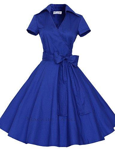PU&PU Robe Aux femmes Grandes Tailles Grandes Tailles / Vintage / Soirée / Travail / Décontracté , Couleur Pleine V Profond Mi-long Coton black-m