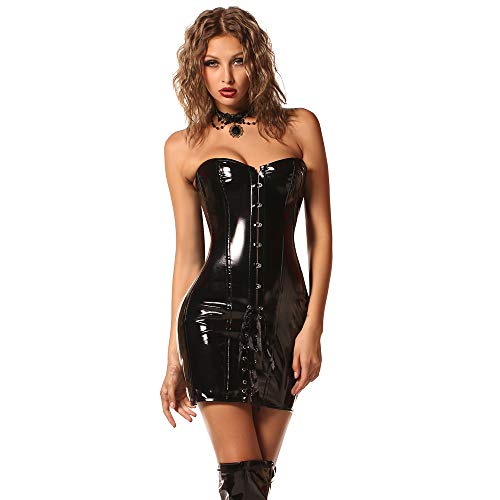 Myf Damen Korsett Kleid Korsage Steampunk Sexy Gothic Wetlook PVC Leder Vollbrust Lang Corsage,Black,M