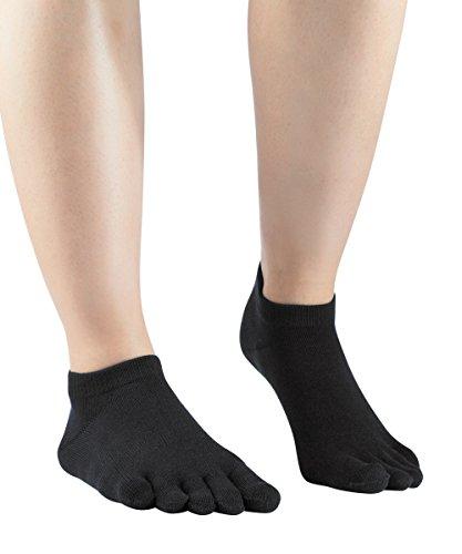 Knitido essentials sneaker | calzini alla caviglia con dita separate per uso quotidiano e tempo libero, misura:39-42, colore:black