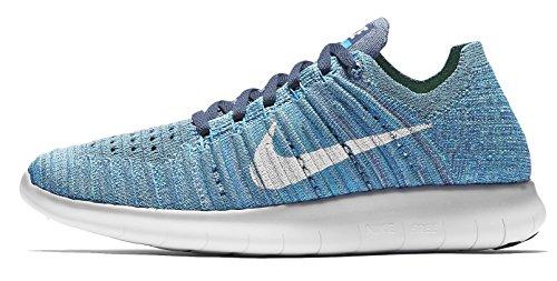 Nike Women's Free Running Motion Flyknit Shoes, Ocean Fog/White-blue Glow - 7.5 B(M) US B Free Schuhe