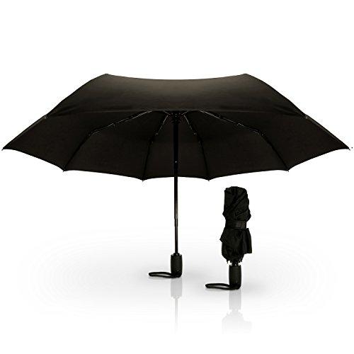 CampTeck Winddicht Kompakter Faltbarer Regenschirm Taschenschirm mit Knopf für Automatisches...