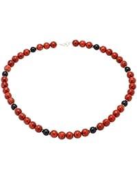 Kette Collier aus Koralle & Onyx & 925er Silber rot schwarz Halskette Damen