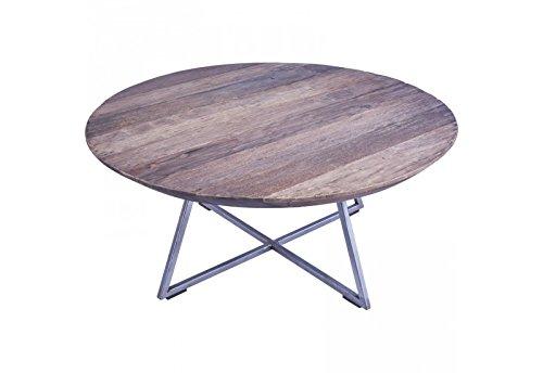 Table basse ronde BOGOR en vieux teck Ø 80 cm