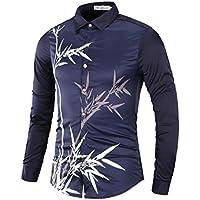 Yvelands Hombres Camisas Impresas, Hombres guapos Ocasionales Moda de impresión de bambú Camisas de Manga Larga Tops Slim Fit Camisetas