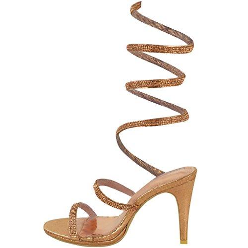 Escarpins sandales - talons hauts - femme - avec strass - tailles 36 à 41 Or rose métallisé/brides/cheville