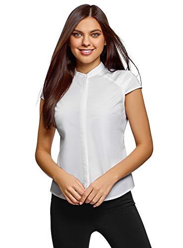 Oodji ultra donna camicetta con colletto rialzato e manica corta a raglan, bianco, it 46 / eu 42 / l