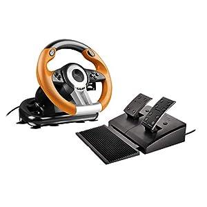Speedlink Gaming Lenkrad für PS3-DRIFT O.Z. Racing Wheel USB(Schaltknauf,Gas-und Bremse-Pedale -Vibration, 180°Lenkbereich-Controller für Driving Games oder andere Simulator-Spiele)schwarz/orange