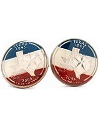 Texas Manschettenknöpfe Anzug Flagge Staat Münze Schmuck USA Vereinigte Staaten Amerika Lone Star Cowboy Houston San Antonio Dallas Austin
