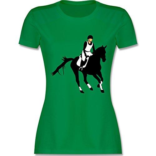 Reitsport - Vielseitigkeitsreiten - tailliertes Premium T-Shirt mit Rundhalsausschnitt für Damen Grün