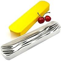10pcs 12,9cm) 5Inch acero inoxidable fruta tenedor para aperitivos cóctel tenedores de frutas con una caja de plástico para tartas ensalada cóctel plata tono