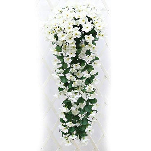 (fixuk wunderschönen frischen 220Köpfe/1Bouquet five-petal bracketplant Aufhängen Künstliche Violet Flower weiß)