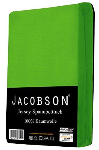 Jacobson Jersey Spannbettlaken Spannbetttuch Baumwolle Bettlaken (60x120-70x140 cm, Apfelgrün) - 2