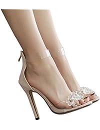 WINWINTOM High Heel Sandalette Damen 2018 Strass Offene Toe High Heels Damen Transparente Stiletto Sandalen