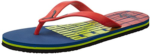 Puma-Mens-Grant-DP-Snorkel-Blue-High-Risk-Red-Lime-Punch-and-Black-Flip-Flops-Thong-Sandals-6-UKIndia-39-EU