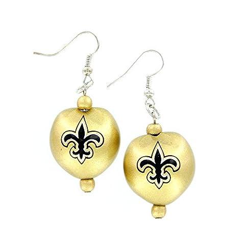 NFL New Orleans Saints Kukui Nut Earrings, Black/Gold