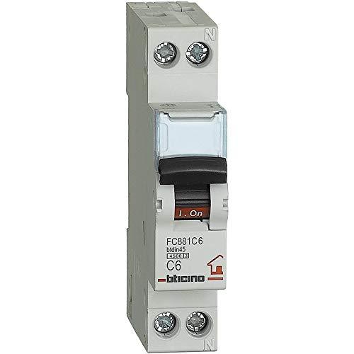 BTicino FC881C6 Interruttore Magnetotermico, C6, 1P+N, 1 m, 4500 A, 6 A