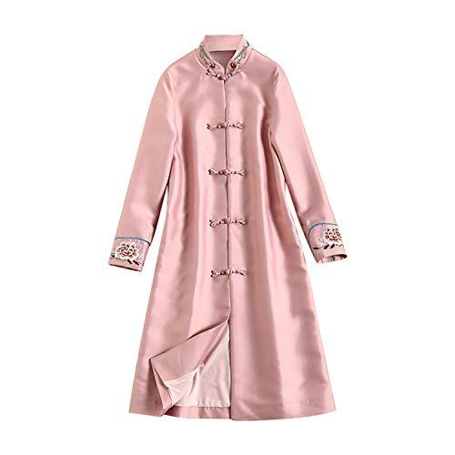 XCXDX Klassisches Damenkleid im Ethno-Stil, elegant, Tang-Anzug, Cheongsam, Bestickt, Rosa, yv_8015029_L, L -