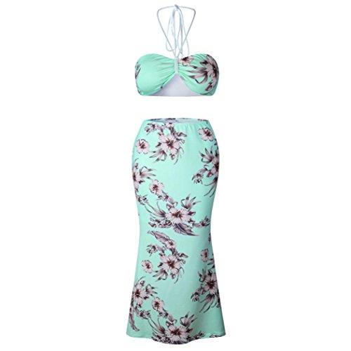 Yogogo Sexy Mode Femme 2 Pièces sans Manche Crops Tops Floral Imprime Bandage Dentelle Halter Taille Haute Jupe Mi-Longue Pour Soirée Club Bar Vert