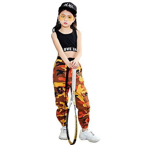 Mädchen Hip Hop Street Dance Kleidung Set Jazz Dancewear Tank Top + Camouflage Pants -