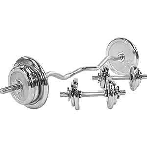 Set d´haltères Curl chromé 70 kg