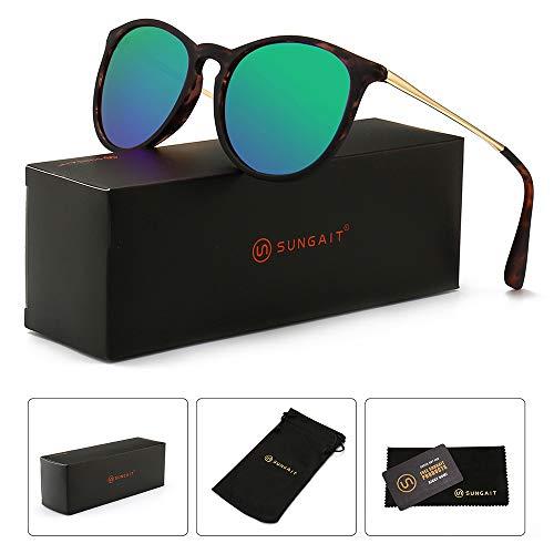 SUNGAIT Sunait Vintage Runde Sonnenbrille für Damen, klassischer Retro-Stil, (Polarized Green Mirror Lens/Amber Frame), Freie Größe