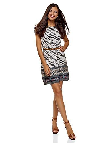 oodji Ultra Damen Viskose-Kleid Basic mit Gürtel, Blau, DE 34 / EU 36 / XS
