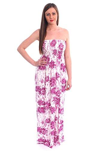 Femmes Imprimé Sheering Rassemblez boobtube Bandeau été bretelles Robe longue vêtements de plage Taille 36-42 fleurs magenta