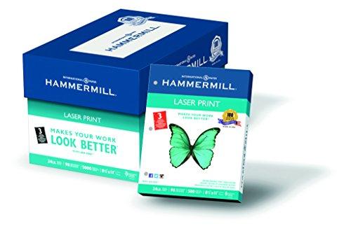 Hammermühle (Technik) Papier, Laser-Print, 10,9kg, 8,5x 11, Buchstabe, 98hell, 500Blatt/1Ries (104604), hergestellt in den USA 3 gestanzte Löcher 5,000 Sheets weiß (Print Lb 24 Laser Hammermill)