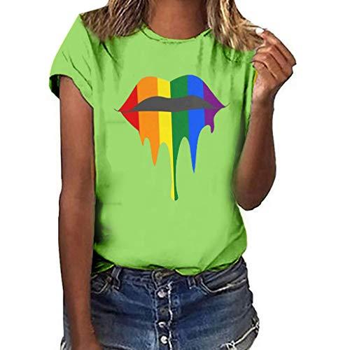 hen Plus Size S-3XL,Lips Print Shirt Kurzarm T-Shirt Bluse Tops Neon Kuss-Mund Lippen Shirts Girls Geburtstag-Geschenk Geil Bedruckt(Grün,3XL) ()