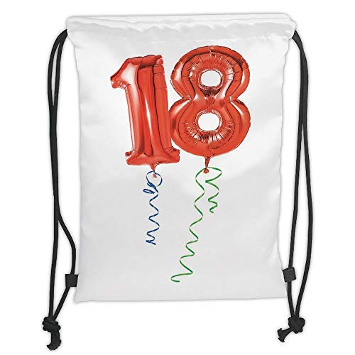 LULUZXOA Gym Bag Printed Drawstring Sack Backpacks Bags,18th Birthday Decoration,Flying Party Balloons with Curly Ropes 18 Years Old Image,Red Green and Blue Soft Satinr Old Flying Machine