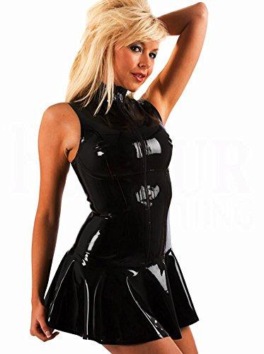 ZOYOL Damen Babydoll-Kleid aus schwarzem PVC-Kunstleder S-XL Farbrock Nachtshow Kostüme XL Schwarz