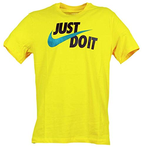 Nike Herren M NSW Tee Just Do It Swoosh Hemd, Gelb/Schwarz/Mystik-Grün, M