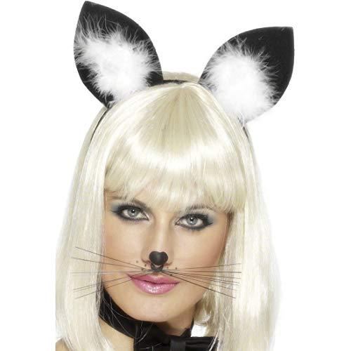 NET TOYS Katzenohren Haarreif schwarz-weiß Katzen Ohren Haarreifen Katzenhaarreif Kostüm Zubehör - Weiße Katze Kostüm