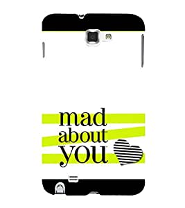 Fiobs Designer Back Case Cover for Samsung Galaxy Note N7000 :: Samsung Galaxy Note I9220 :: Samsung Galaxy Note 1 :: Samsung Galaxy Note Gt-N7000 (Mad About You Love Pagal Flower Floral Stripes Mobile Case)
