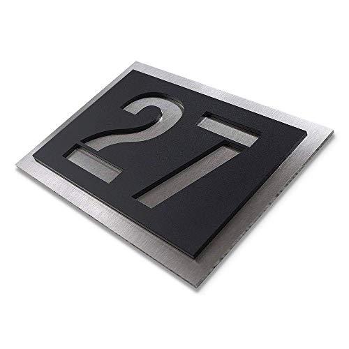 Metzler-Trade Hausnummer aus Edelstahl und Acrylglas - in schwarz - witterungsbeständige und kratzfeste Materialien - Bis zu drei Ziffern oder Buchstaben möglich - Verschiedene Schriftarten möglich - verschiedene Größe wählbar (215x150 mm)