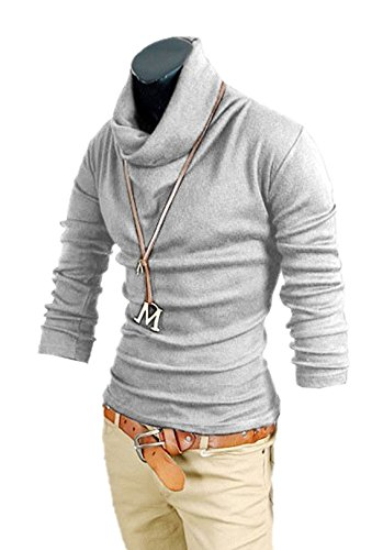 Aulei Herren T-Shirt Slim Fit Bluse Tops Rollkragen Hemd Langarm Baumwolle Bodenbildung Shirt Hellgrau