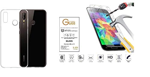 Für Huawei P20 Lite (Bildschirm 5,84) Abdeckung Schale Retro Schale Oberschale Gel Silikon Gummi Weich TPU + Schutzfilm Glas Gehärtetes Glas Schützende Touch Display Stoßfest 9H - Transparent -