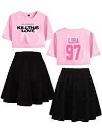 Blackpink Kill This Love KPOP Ropa Camiseta Set Expuestos Falda Cortos Ombligo Traje De La Camiseta Crop Top T-Shirt JISOO Lisa Rose Jennie