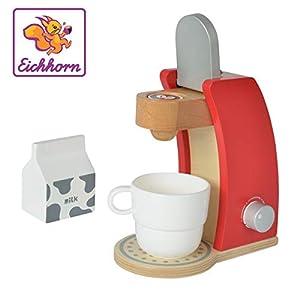 Eichhorn 100002489-Cafetera de Madera, Incluye Taza, Leche Caja y 1x kaffeepad, 4Piezas, 12x 18,5x 20,5cm, Madera de Abedul