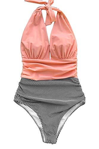 CUPSHE Damen Halten Sie Begleitet Streifen Einteiler Badeanzug Bademode, Rosa, X-Large (USA 16/18)