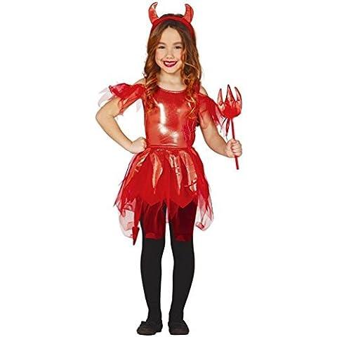 Niña Brillante Demonio Diablo Rojo tutú Disfraz De Halloween 3-12 años - 3-4 years