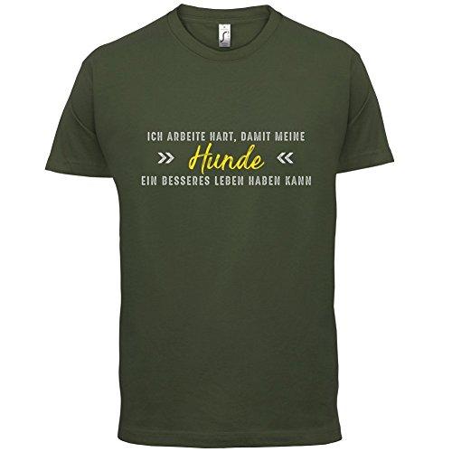 Ich arbeite hart, damit meine Hunde ein besseres Leben haben kann - Herren T-Shirt - 12 Farben Olivgrün