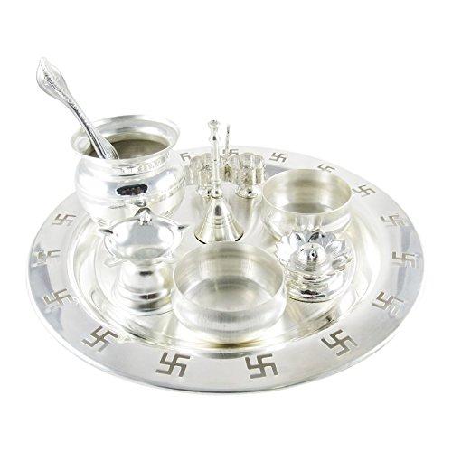 GoldGiftIdeas 9 Inch Silver Plated Swastik Pooja Thali Set