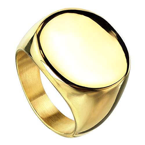 Edelstahl Bandring Ehering Partnerring Biker Rocker Ring Runder Siegelring Damen Herren Größe 67 (21.3) Gold ()