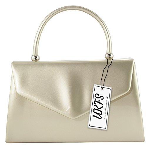 UKFS Piccolo Designer Hard Case brevetto frizione di sera della borsa Oro