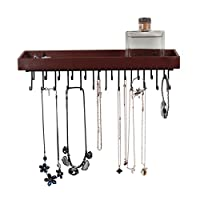 JackCubeDesign Hanging Jewellery Organiser Necklace Hanger Bracelet Holder Wall Mount Necklace Organiser with 23 Hooks(Brown, 36.5 x 7.5 x 9.8 cm, Unseparated) - :MK208B