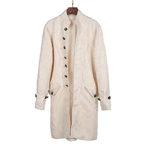 MISSWongg Männer Gothic Gehrock Uniform Kostüm Party Oberbekleidung Plus Size Herren Langarm Mantel Mode Steampunk Retro-Smoking Mantel Frackjacke (M, Weiß) - Langarm-gestreiften Uniform