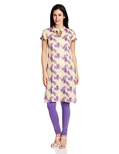 Atayant Women's Anarkali Kurta (ATAY01987_L_Beige)  available at amazon for Rs.299
